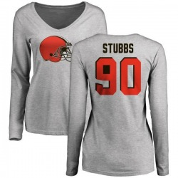 Women's Anthony Stubbs Cleveland Browns Name & Number Logo Slim Fit Long Sleeve T-Shirt - Ash