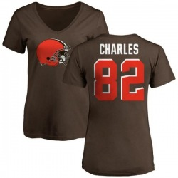 Women's Orson Charles Cleveland Browns Name & Number Logo Slim Fit T-Shirt - Brown