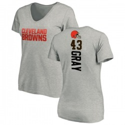 Women's Trayone Gray Cleveland Browns Backer V-Neck T-Shirt - Ash