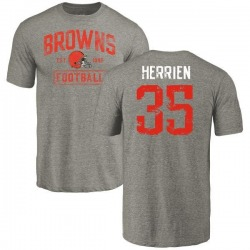 Youth Brian Herrien Cleveland Browns Gray Distressed Name & Number Tri-Blend T-Shirt