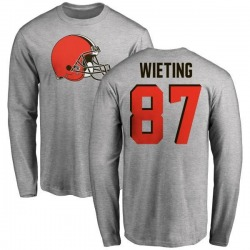 Youth Nate Wieting Cleveland Browns Name & Number Logo Long Sleeve T-Shirt - Ash